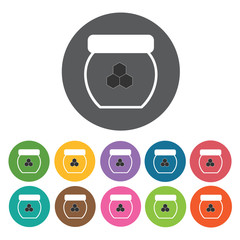 Honey jar icon. Honey relate icon set. Round colourful 12 button