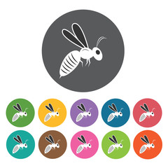 Bee icon. Honey relate icon set. Round colourful 12 buttons. Vec