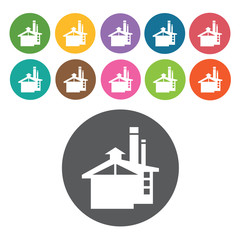 Industrial building icon. Industy icons set. Round colourful 12