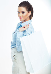 Business woman isolated portrait hold shopping bag