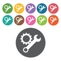 Wrench & gear icon. Industy icons set. Round colourful 12 button