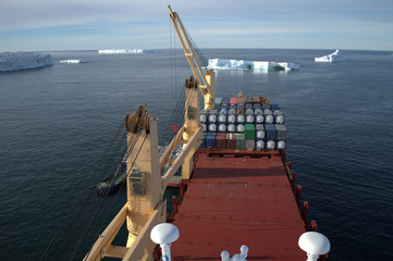 cargo container ship in the sea of Antarctica