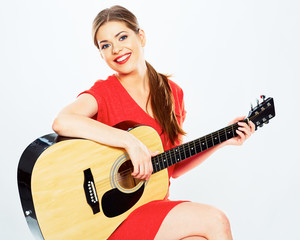 young woman play music