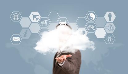 Businessman in suit hold cloud