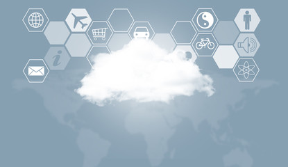 Cloud, world map and hexagons with icons