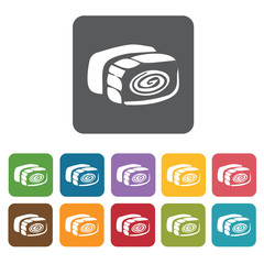 Sushi icon. Attraction of japanese icon set. Rectangle colourful