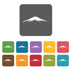 Mt fuji icon. Attraction of japanese icon set. Rectangle colourf