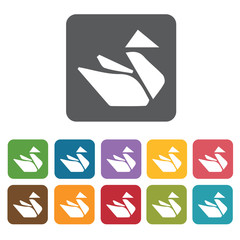 Origami icon. Attraction of japanese icon set. Rectangle colourf