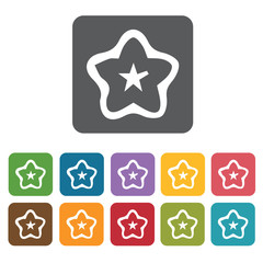 Star food icon. Attraction of japanese icon set. Rectangle colou