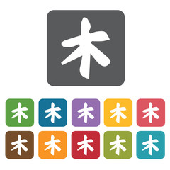 Japanese letter icon. Attraction of japanese icon set. Rectangle