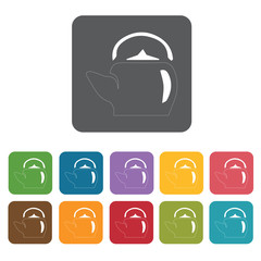 Kettle icon. Attraction of japanese icon set. Rectangle colourfu