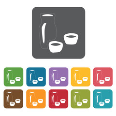 Sake icon. Attraction of japanese icon set. Rectangle colourful