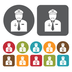 Ship captain avatar icon. Set of profession people flat style ic