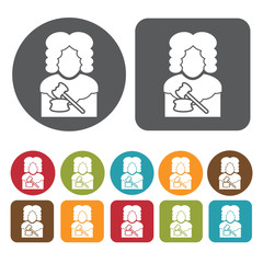 Judge avatar icon. Set of profession people flat style icons. Ro