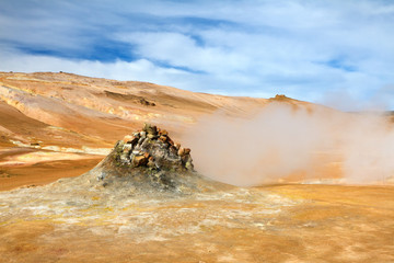 Steaming fumarole in Hverir, Namafjall, North Iceland