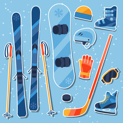 Winter sports equipment sticker icons set in flat design style.