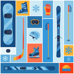 Winter sports background with equipment flat icons.