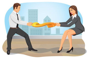 Businessman and businesswoman compete and pull a dollar sign