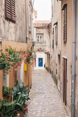 Mediterranean street in Krk, Croatia
