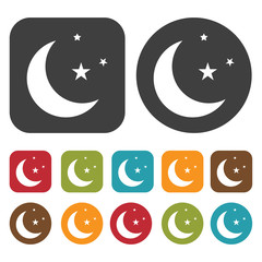 Moon with stars sign icon. Sleep Sign symbol icons set. Round an