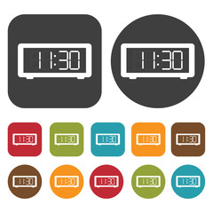 Digital Clock sign icon. Sleep Sign symbol icons set. Round and