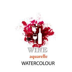 Wine.Abstract watercolor icon.Vector