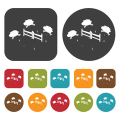 Sheeps jumping over fences sign icon. Sleep Sign symbol icons se