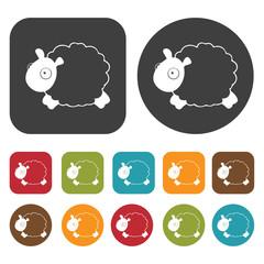 Sheep sign icon. Sleep Sign symbol icons set. Round and rectangl