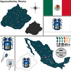Map of Aguascalientes, Mexico