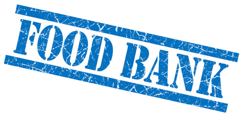food bank blue grungy stamp isolated on white background
