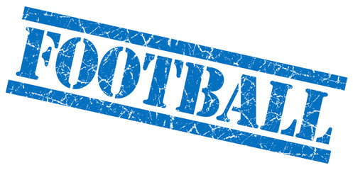 football blue grungy stamp isolated on white background