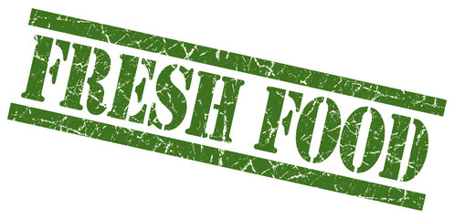 fresh food green grungy stamp isolated on white background