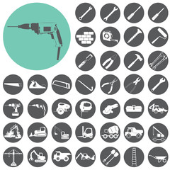 Buliding and construction icons set. Vector Illustration eps10