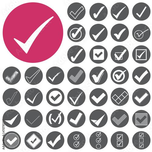 Check mark sign icons set. Vector Illustration eps10