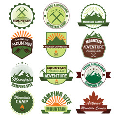 Set of camping Badge symbols and icons. Vector Illustration eps1