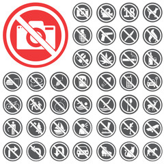 Prohibition signs icon set. Vector Illustration eps10