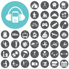 Recreation icons set. Vector Illustration eps10