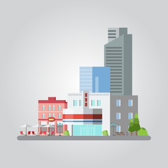 Flat design of colorful cityscape