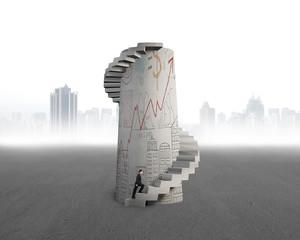 businessman start to climb doodles concrete spiral tower