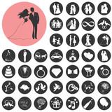 Fototapety Wedding, marriage, bridal icon set. Vector Illustration eps10