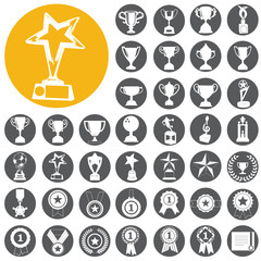 trophy and awards icons set. Vector Illustration eps10