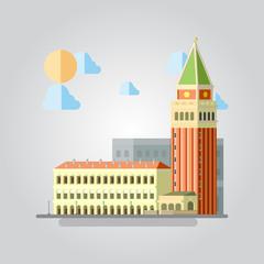 Flat design of Italian building cityscape