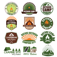 Set of retro camping and outdoor Badge. Vector Illustration eps1