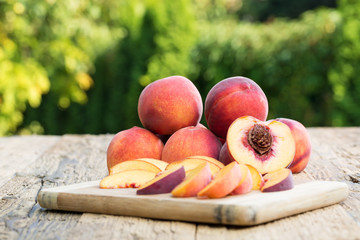 Peaches on a wooden table
