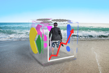 barefoot businessman with shorts standing in glass cube