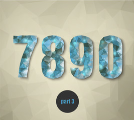 triangular crystal numbers abstract blue