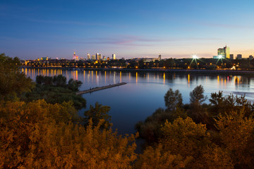Autumn panorama of Warsaw