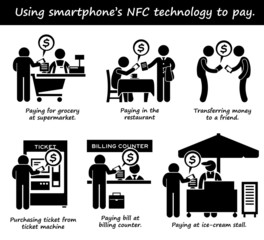 Paying with Phone NFC Technology Clipart Icons
