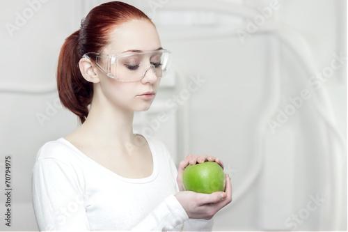 canvas print picture female scientist in the futuristic laboratory