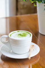 hot green tea latte